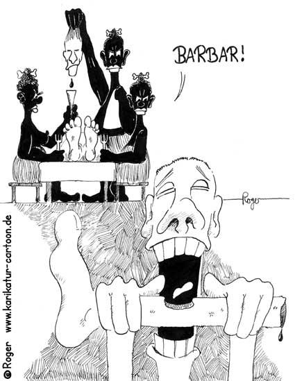 Karikatur, Cartoon: Barbar, feine Lebensart, © Roger Schmidt