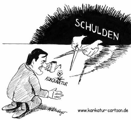 Karikatur, Cartoon: Konjunktur, Schulden, © Roger Schmidt