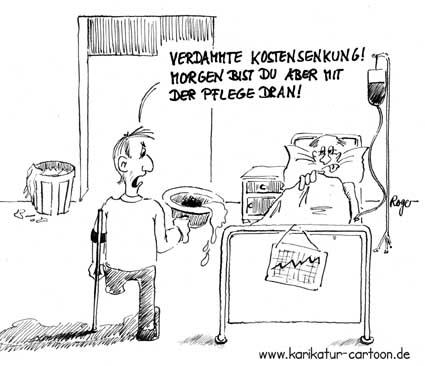 Karikatur, Cartoon: Kostensenkung, © Roger Schmidt