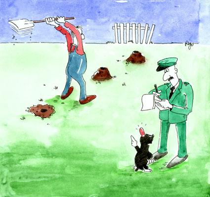 Karikatur, Cartoon: Maulwurf Beschwerde Garten, © Roger Schmidt