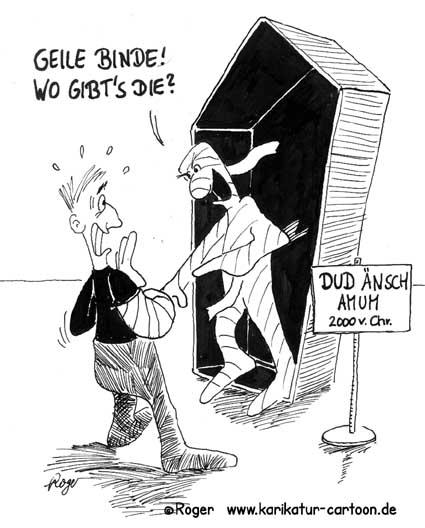 Karikatur, Cartoon: Mumie, © Roger Schmidt