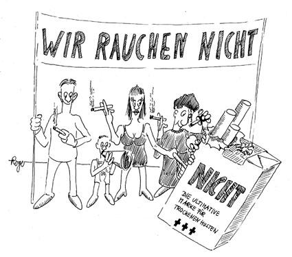 Karikatur, Cartoon: Nichtraucher, © Roger Schmidt