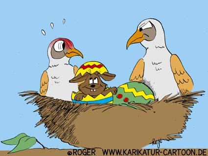 Karikatur, Cartoon: Ostern und der Osterhase, © Roger Schmidt