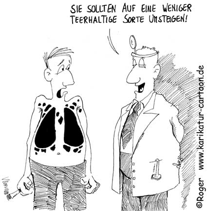 Karikatur, Cartoon: Raucher, © Roger Schmidt