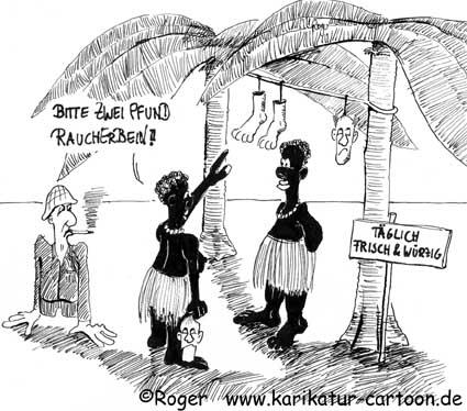 Karikatur, Cartoon: Feinschmecker mögen Raucherbein, © Roger Schmidt