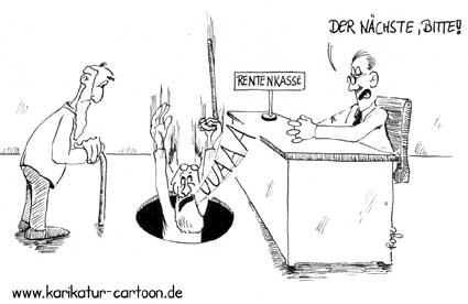 Karikatur, Cartoon: Rentenloch, © Roger Schmidt