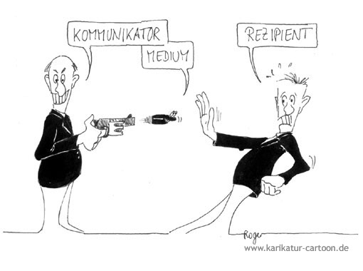 Karikatur, Cartoon: Kommunikator, Medium und Rezipient, © Roger Schmidt
