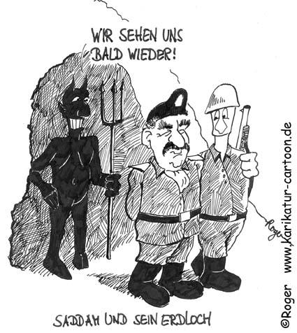 Karikatur, Cartoon: Teufel, Saddam und sein Erdloch, © Roger Schmidt