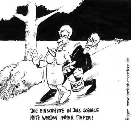 Karikatur, Cartoon: Einschnitte im sozialen Netz, © Roger Schmidt