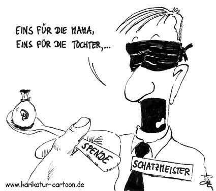Karikatur, Cartoon: Schatzmeister, © Roger Schmidt