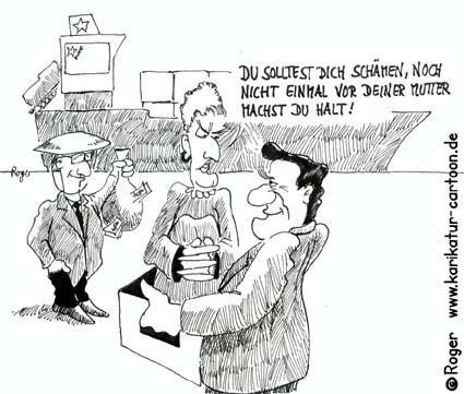 Karikatur, Cartoon: Schröder und China, © Roger Schmidt