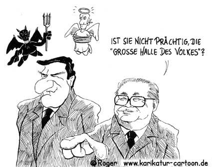 Karikatur, Cartoon: Grosse Halle des Volkes, © Roger Schmidt