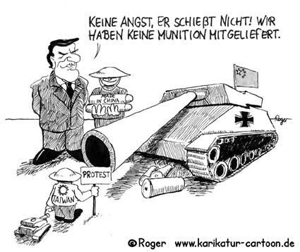 Karikatur, Cartoon: Panzer für den Frieden, © Roger Schmidt