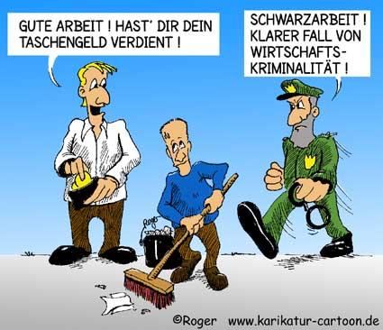 Karikatur, Cartoon: Schwarzarbeit im Haushalt, © Roger Schmidt