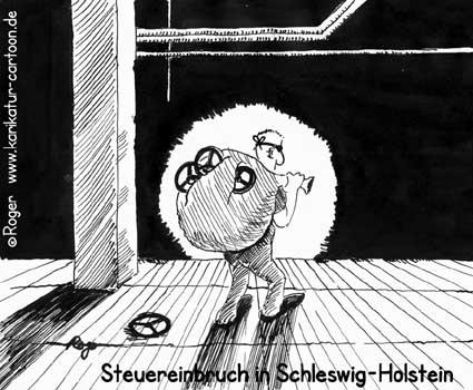 Karikatur, Cartoon: Steuereinbruch in Schleswig-Holstein, © Roger Schmidt