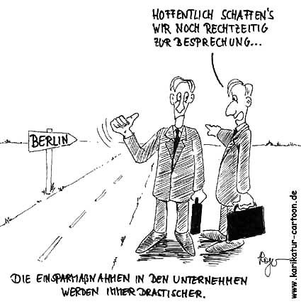 Karikatur, Cartoon: Dienstreise Arbeitnehmer, © Roger Schmidt