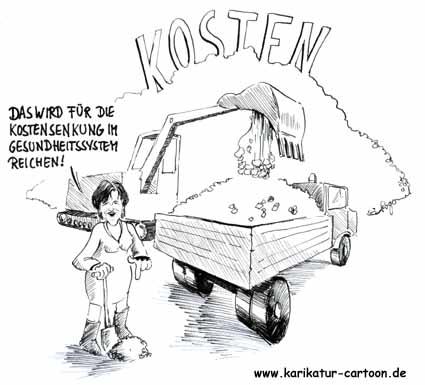 Karikatur, Cartoon: Kostensenkung im Gesundheitssystem, © Roger Schmidt