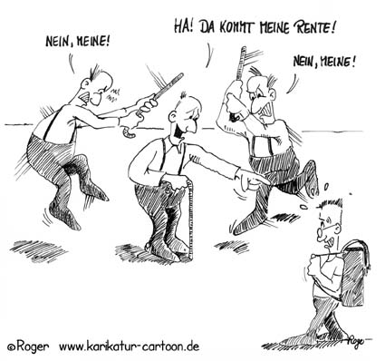 Karikatur, Cartoon: Kinder sichern Rente, © Roger Schmidt