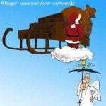 Karikatur, Cartoon: Pause für den Weihnachtsmann, © Roger Schmidt