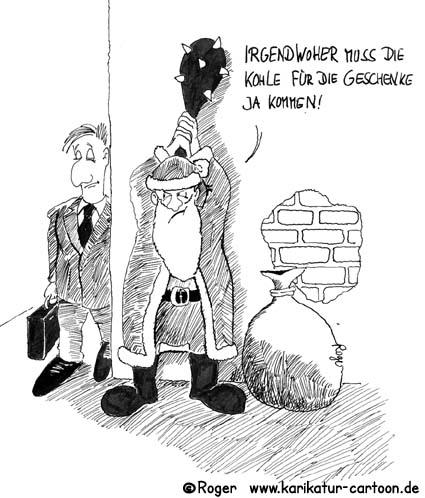 Karikatur, Cartoon: Weihnachtsmann und das Geld, © Roger Schmidt