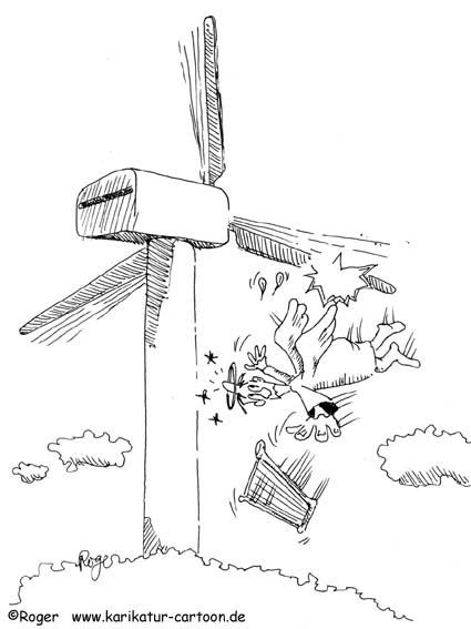 Karikatur, Cartoon: Windkraft, Windenergie, Engel, © Roger Schmidt