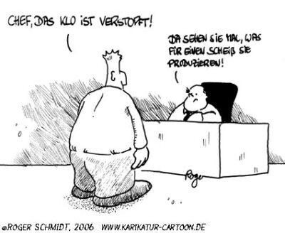 Karikatur, Cartoon: Chef, © Roger Schmidt