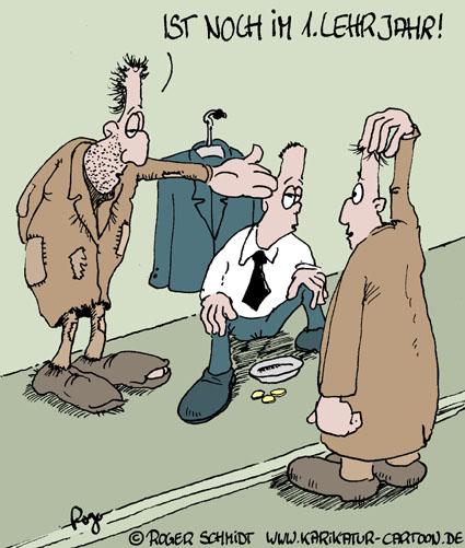 Karikatur, Cartoon: Chef - Lehrling, © Roger Schmidt