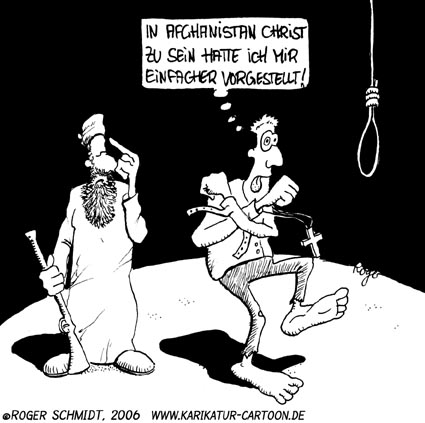 Karikatur, Cartoon: Christ in Afghanistan, © Roger Schmidt