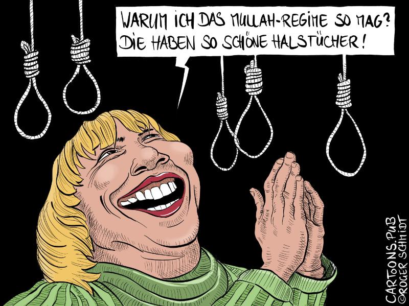 Karikatur, Cartoon: Claudia Roth und ihr Mullah-Regime © Roger Schmidt