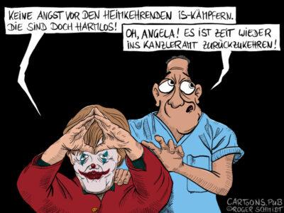 Karikatur, Cartoon: Merkel macht den Rauten-Clown © Roger Schmidt