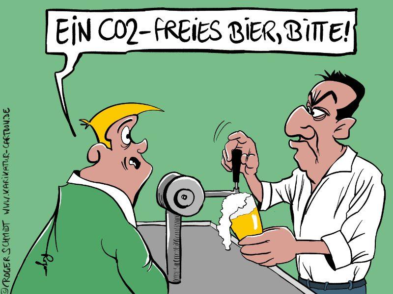 Karikatur, Cartoon: CO2-freies Bier, © Roger Schmidt