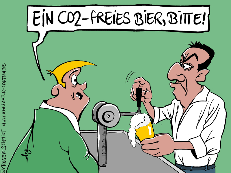 Karikatur, Cartoon: CO2-freies Bier, © Roger Schmidt