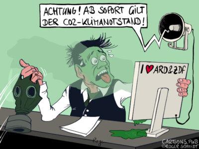 Karikatur, Cartoon: Der CO2-Klimanotstand © Roger Schmidt