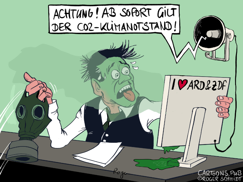 Karikatur, Cartoon: Der CO2-Klimanotstand © Roger Schmidt