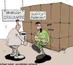 Karikatur, Cartoon: Computer, Beratung und Service, © Roger Schmidt
