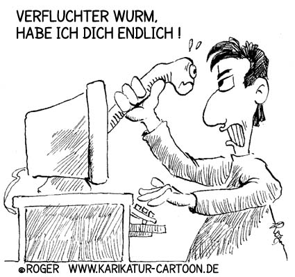 Karikatur, Cartoon: Computerwurm, © Roger Schmidt