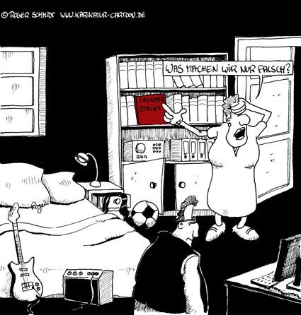 Karikatur, Cartoon: Computerspiel im Killerzimmer, © Roger Schmidt