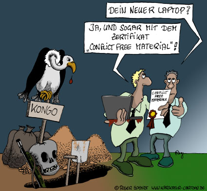 Karikatur, Cartoon: Conflict free material, © Roger Schmidt