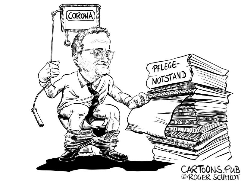 Karikatur, Cartoon: Corona beseitigt Pflegenotstand © Roger Schmidt