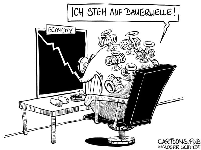 Karikatur, Cartoon: Corona-Dauerwelle © Roger Schmidt