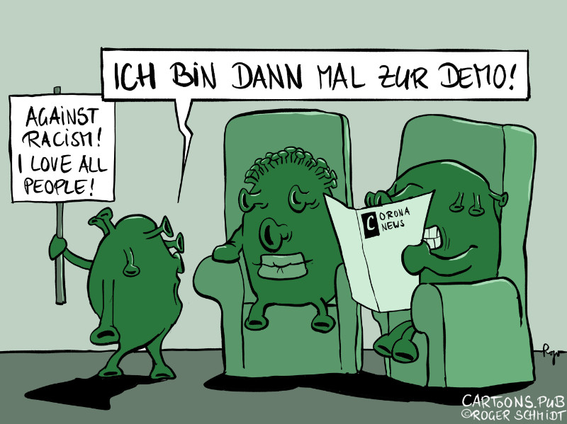 Karikatur, Cartoon: Demos gegen Rassismus © Roger Schmidt