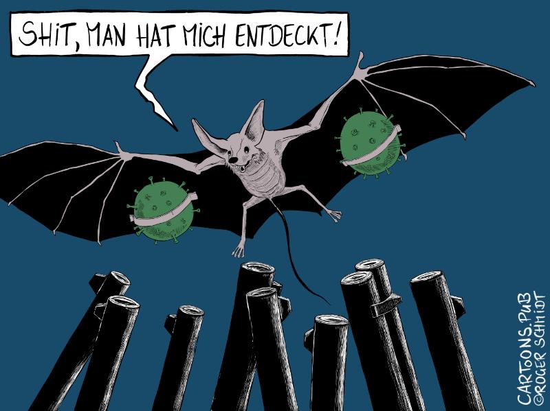 Karikatur, Cartoon: Corona-Fledermaus © Roger Schmidt
