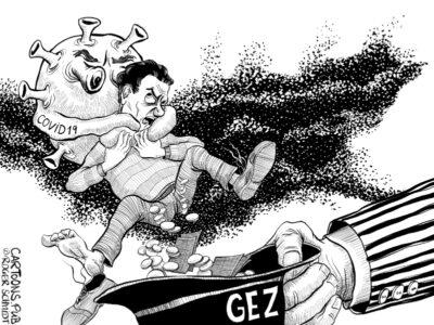 Karikatur, Cartoon: Die schamlose Corona-GEZ-Abzocke © Roger Schmidt