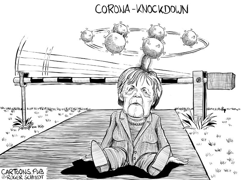 Karikatur, Cartoon: Merkels Corona Knock-Down © Roger Schmidt