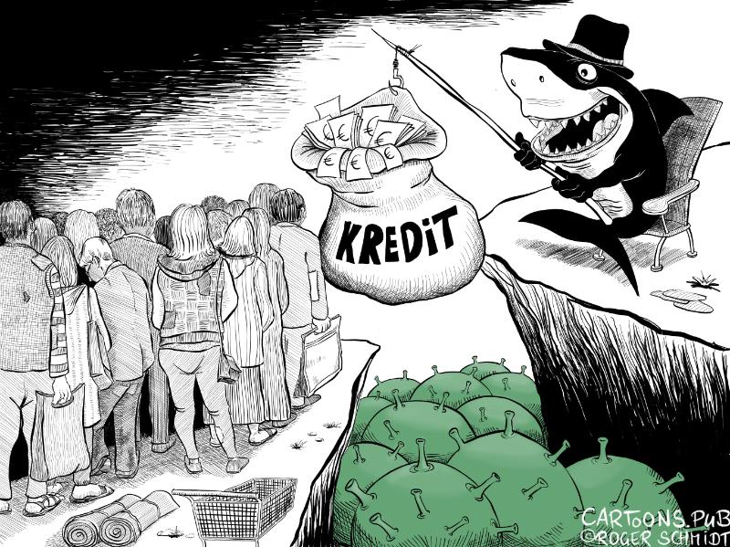 Karikatur, Cartoon: Kredit für Selbstständige und Freiberufler © Roger Schmidt