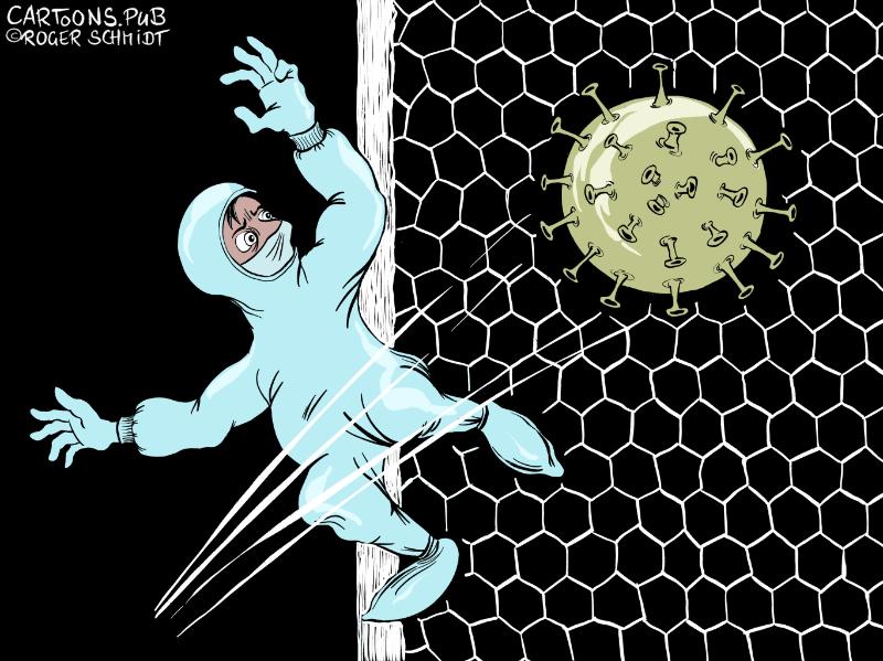 Karikatur, Cartoon: Corona-Virus lähmt Globalisierung © Roger Schmidt