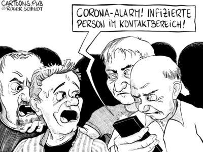 Karikatur, Cartoon: Corona Tracking App © Roger Schmidt