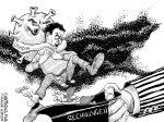 Karikatur, Cartoon: Corona zerstört wirtschaftliche Existenzen © Roger Schmidt
