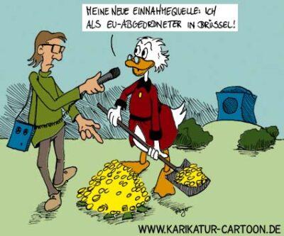 Karikatur, Cartoon: Dagobert und die Europawahl, © Roger Schmidt