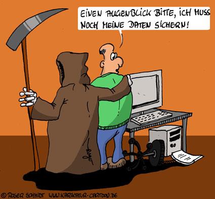 Karikatur, Cartoon: Outlook Daten sichern, © Roger Schmidt